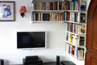 Library and entertainment system in the living room